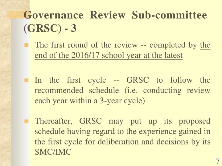 Governance Review Sub-committee (GRSC) -