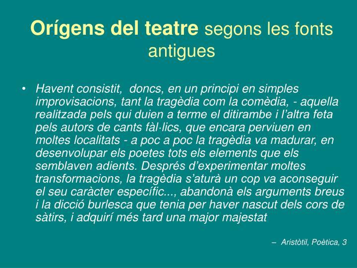 Orígens del teatre