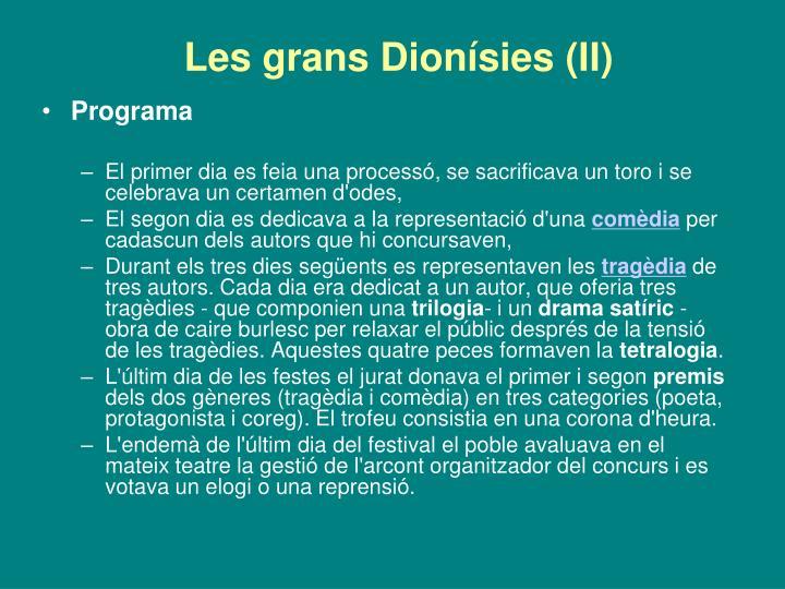 Les grans Dionísies (II)