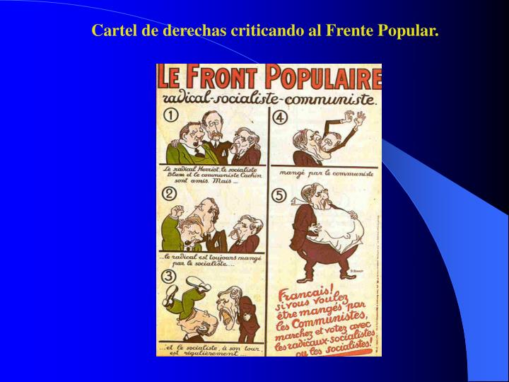 Cartel de derechas criticando al Frente Popular.