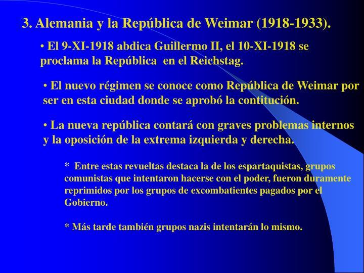3. Alemania y la República de Weimar (1918-1933).