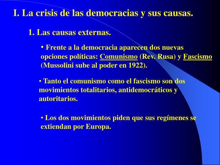 I. La crisis de las democracias y sus causas.
