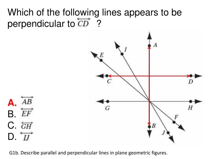 Which of the following lines appears to be perpendicular to        ?