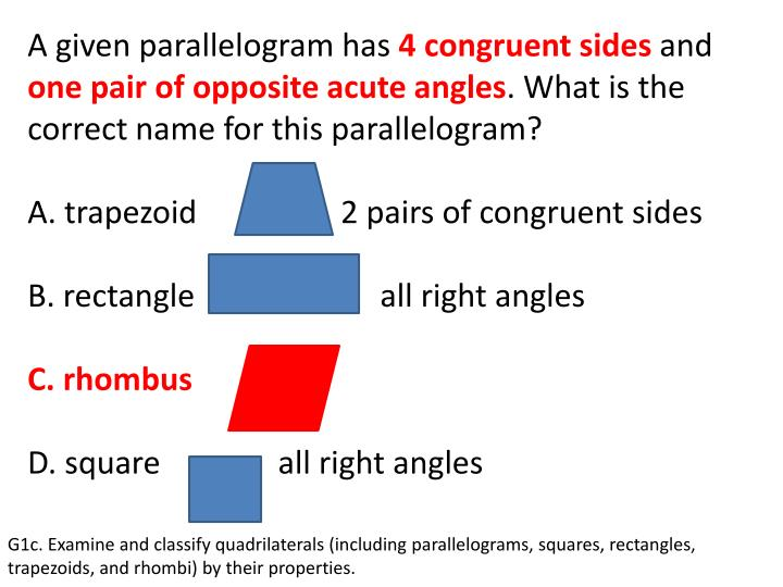 A given parallelogram has