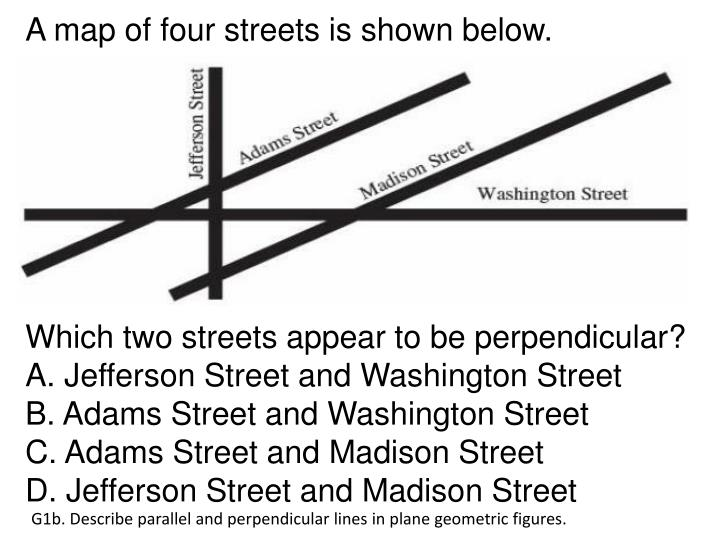 A map of four streets is shown below.