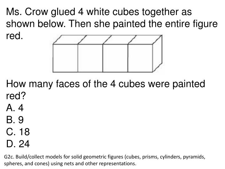 Ms. Crow glued 4 white cubes together as shown below. Then she painted the entire figure red.