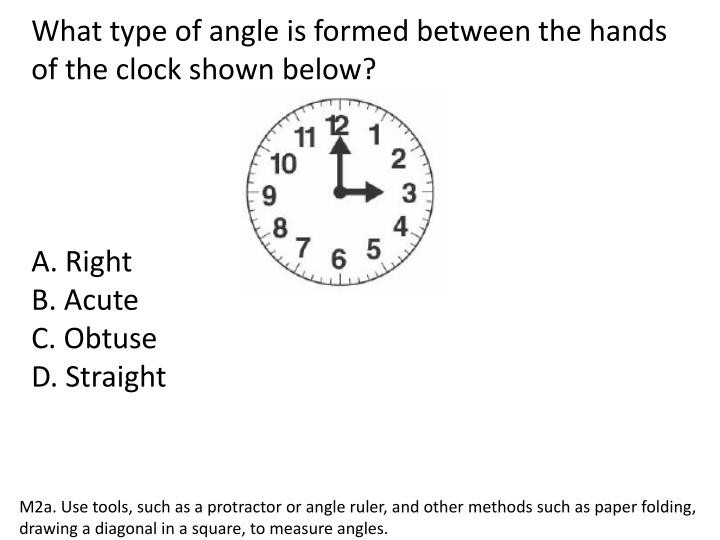 What type of angle is formed between the hands of the clock shown below?