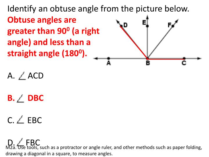 Identify an obtuse angle from the picture below.