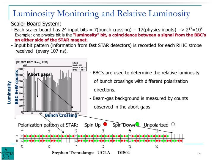 Luminosity Monitoring and Relative Luminosity