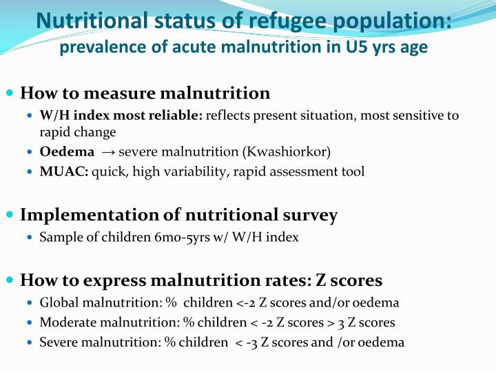 Nutritional status of refugee population: