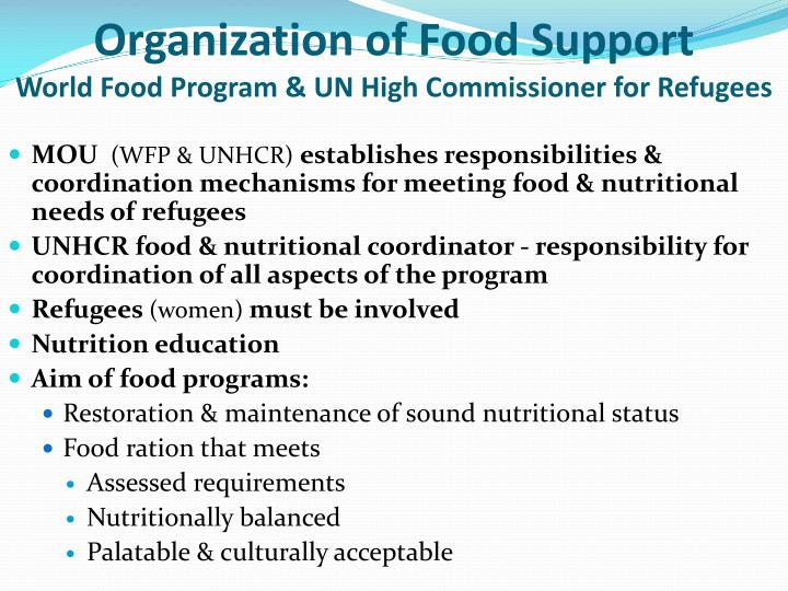 Organization of Food Support