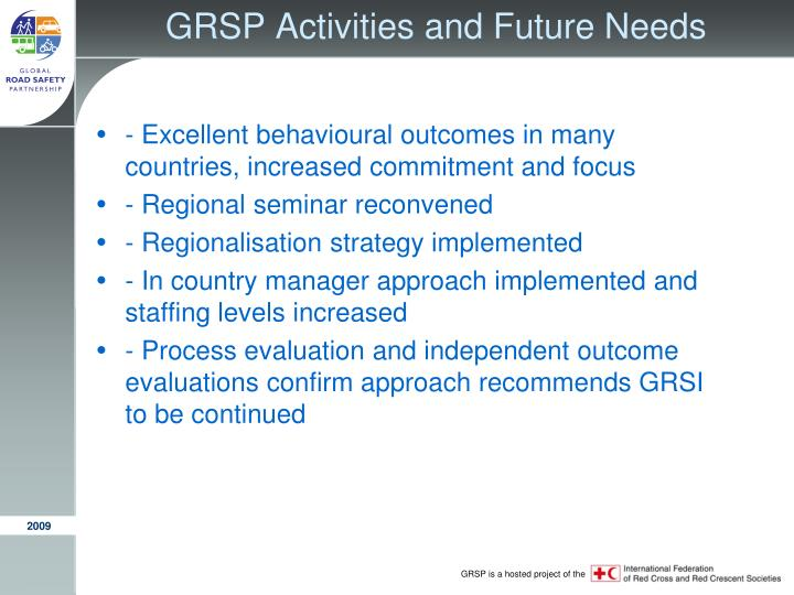 GRSP Activities and Future Needs