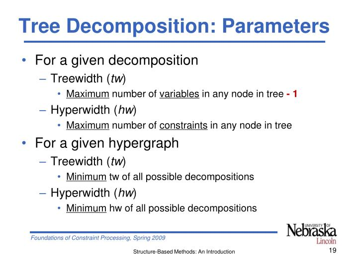 Tree Decomposition: Parameters