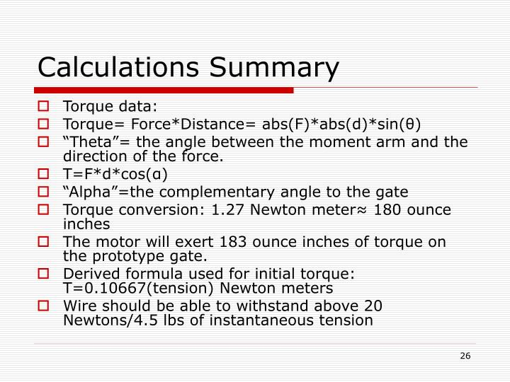 Calculations Summary