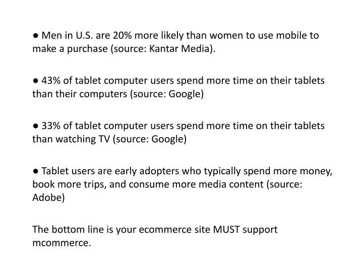 ● Men in U.S. are 20% more likely than women to use mobile to make a purchase (source: Kantar Media).