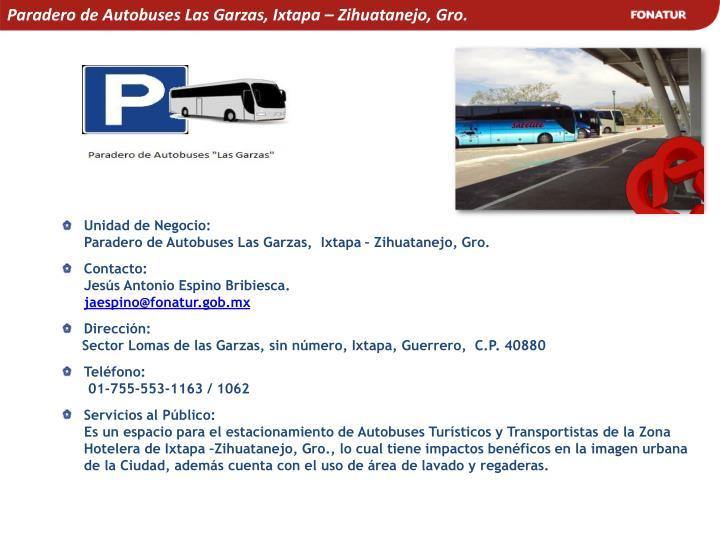 Paradero de Autobuses Las Garzas, Ixtapa – Zihuatanejo, Gro.