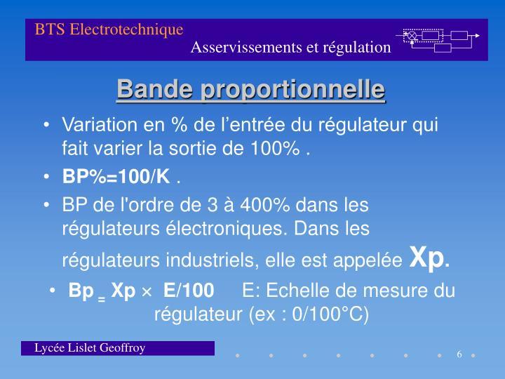 Variation en % de l'entrée du régulateur qui fait varier la sortie de 100% .