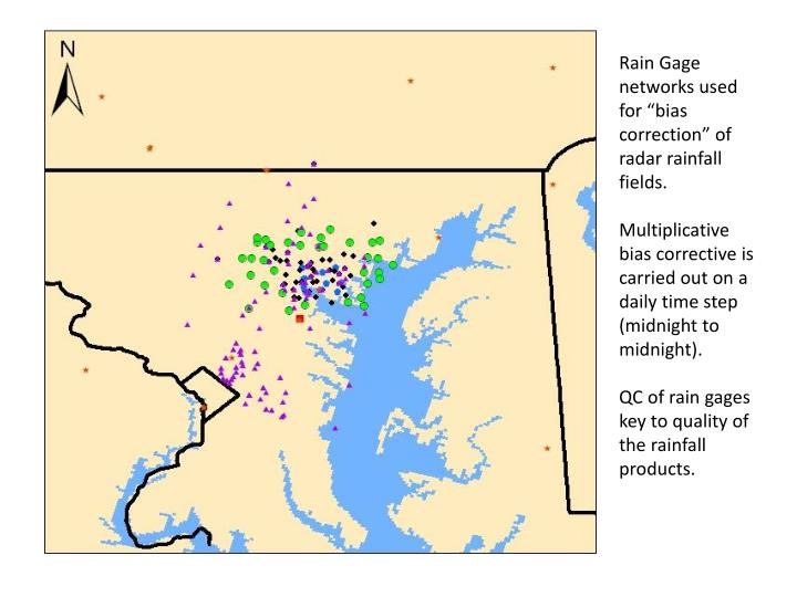 "Rain Gage networks used for ""bias correction"" of radar rainfall fields."