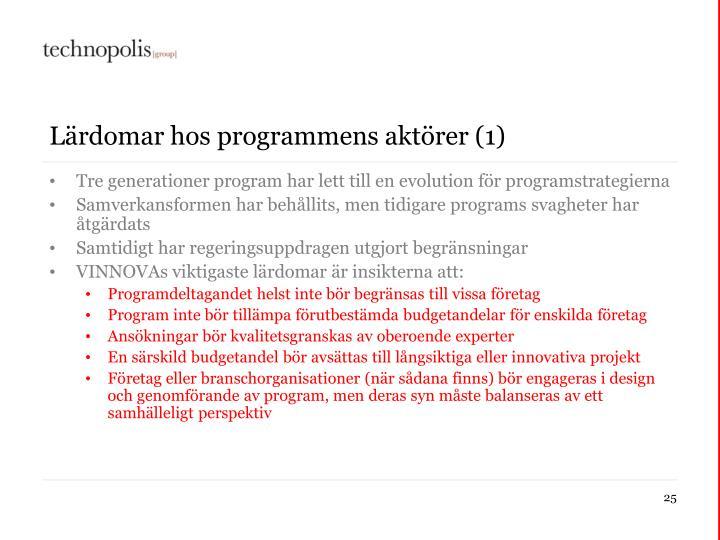 Lärdomar hos programmens aktörer (1)