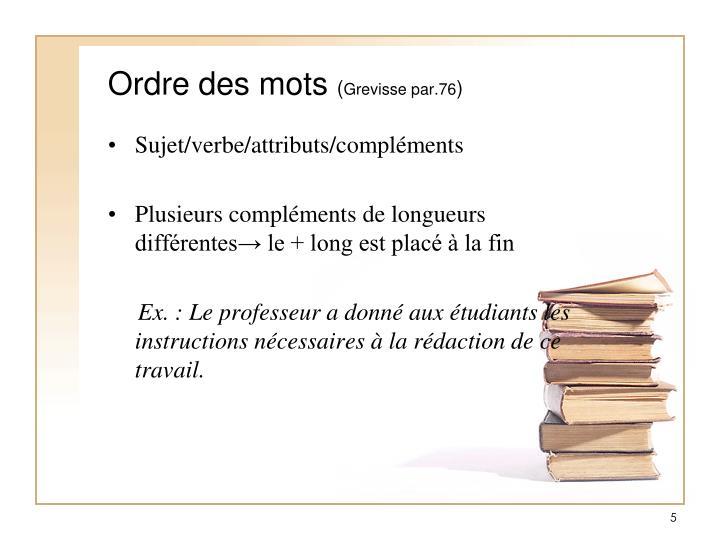 Ordre des mots