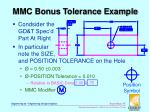 mmc bonus tolerance example