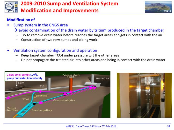 2009-2010 Sump and Ventilation System Modification and Improvements
