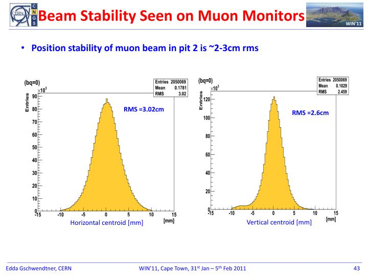 Beam Stability Seen on Muon Monitors