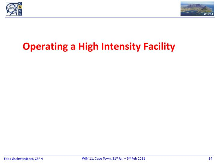 Operating a High Intensity Facility