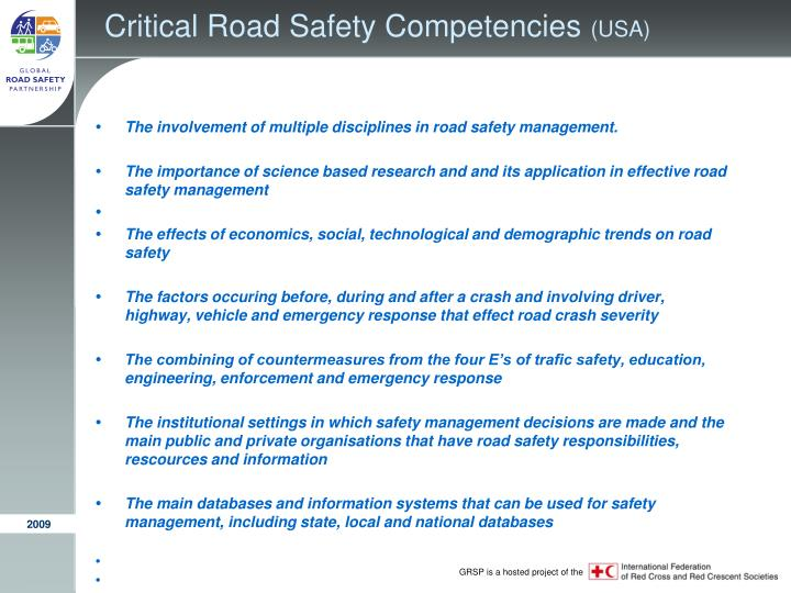 Critical Road Safety Competencies