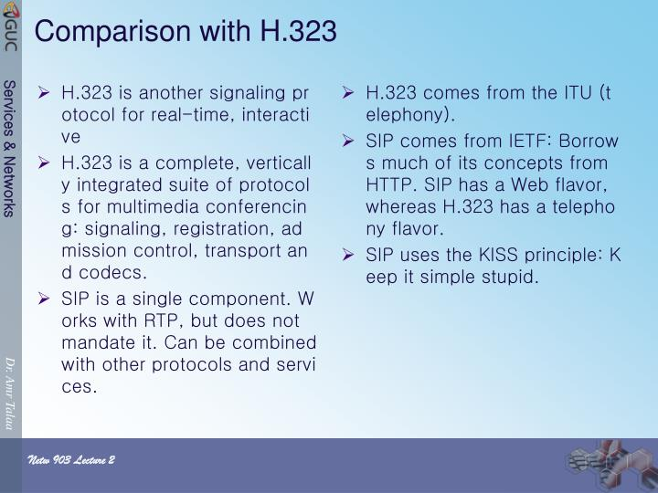 H.323 is another signaling protocol for real-time, interactive