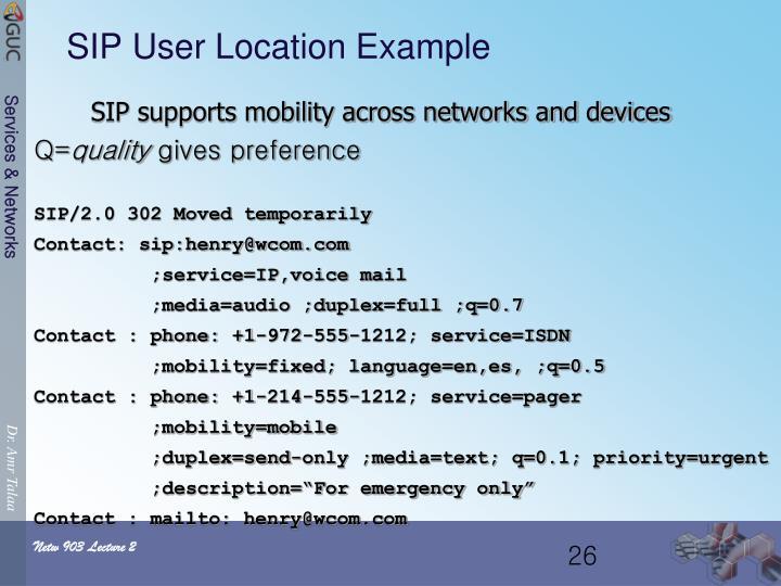 SIP User Location Example