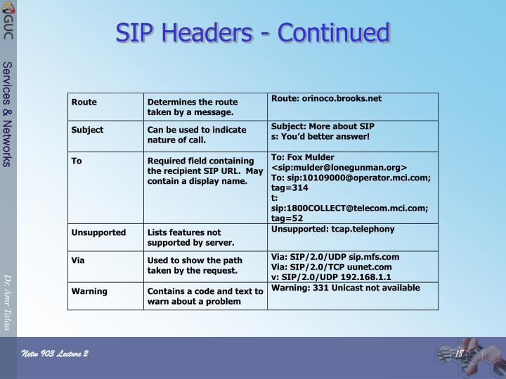 SIP Headers - Continued