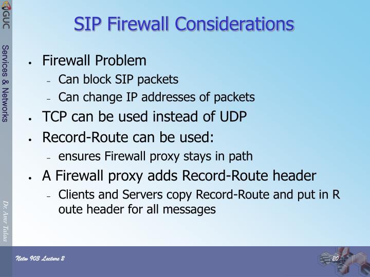 SIP Firewall Considerations
