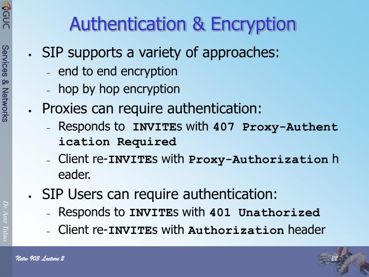 Authentication & Encryption