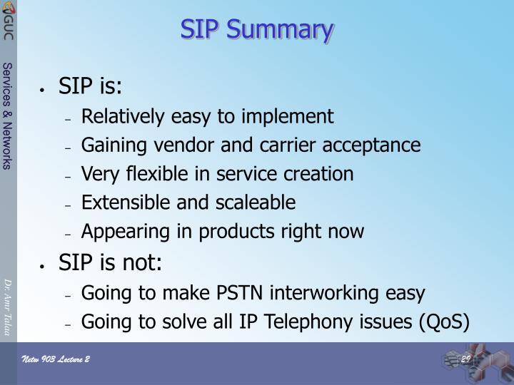 SIP Summary