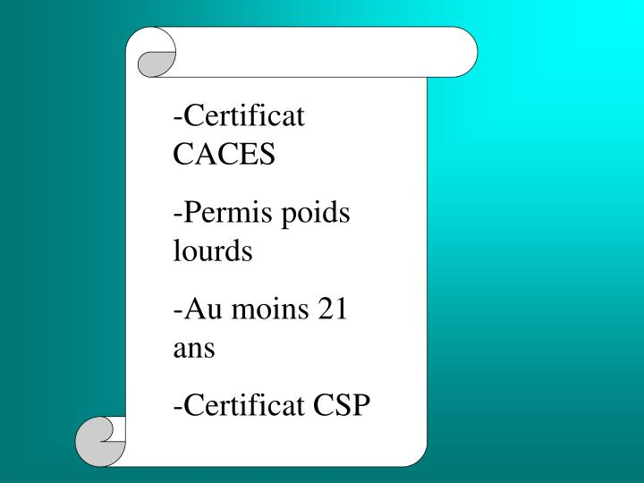 -Certificat CACES