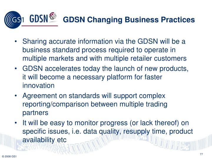 GDSN Changing Business Practices