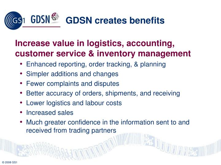 GDSN creates benefits