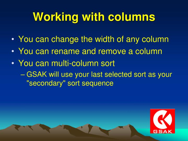 Working with columns