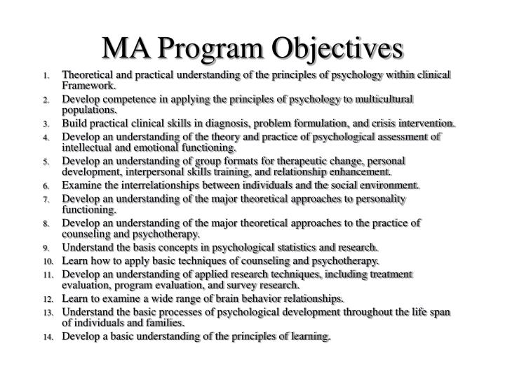 Ma program objectives