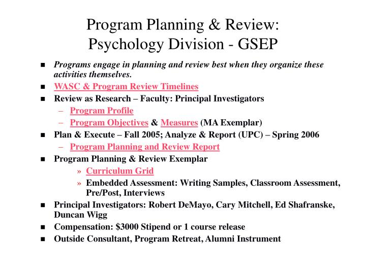 Program planning review psychology division gsep