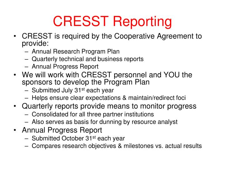 CRESST Reporting