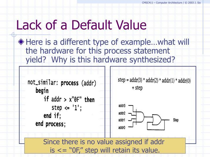 Lack of a Default Value