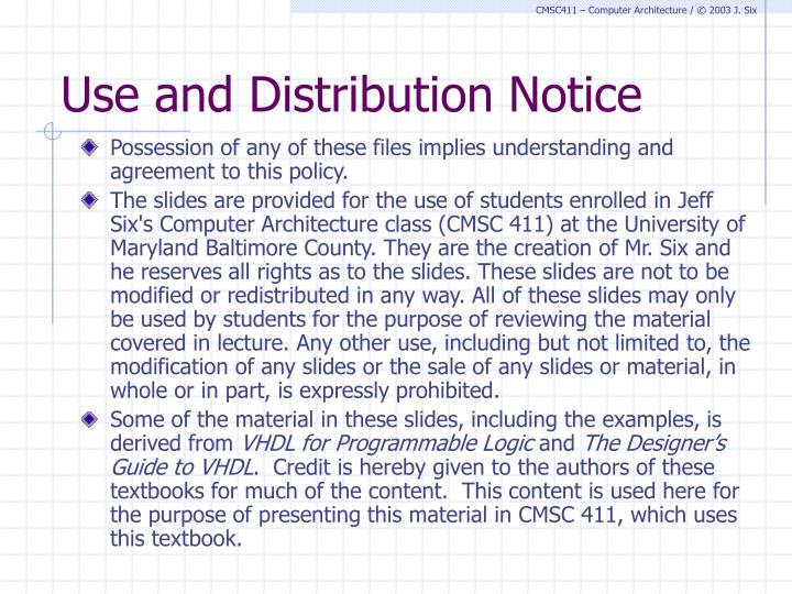 Use and distribution notice