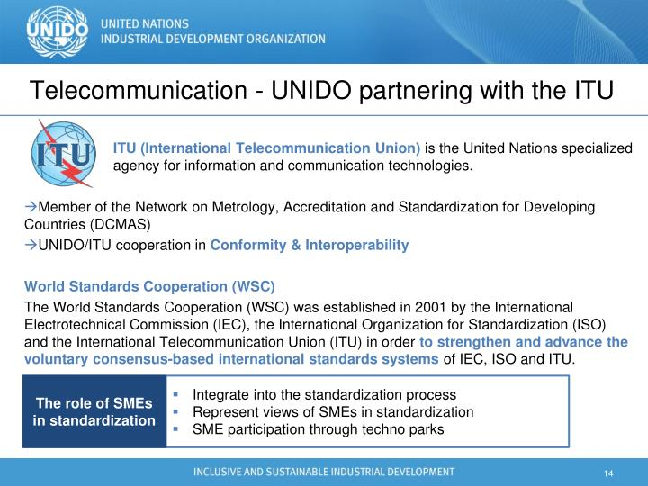 Telecommunication - UNIDO partnering with the ITU
