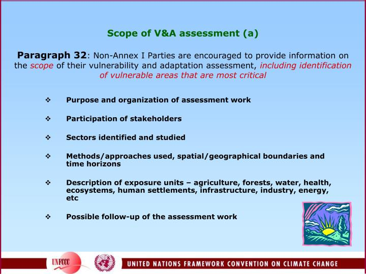 Scope of V&A assessment (a)