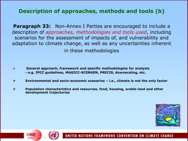 Description of approaches, methods and tools (b)