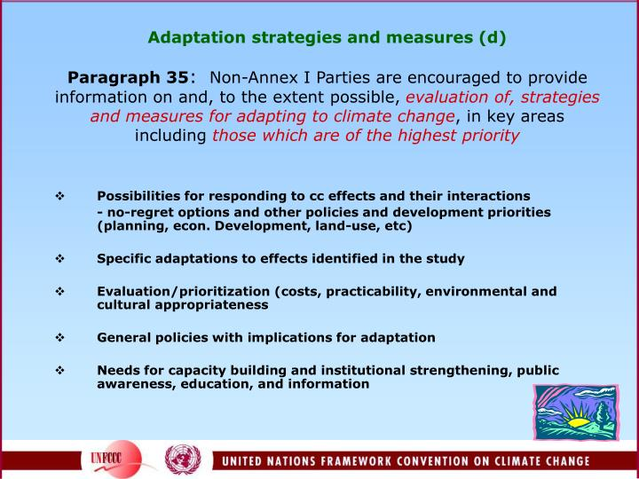 Adaptation strategies and measures (d)