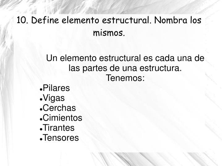 Un elemento estructural es cada una de las partes de una estructura.