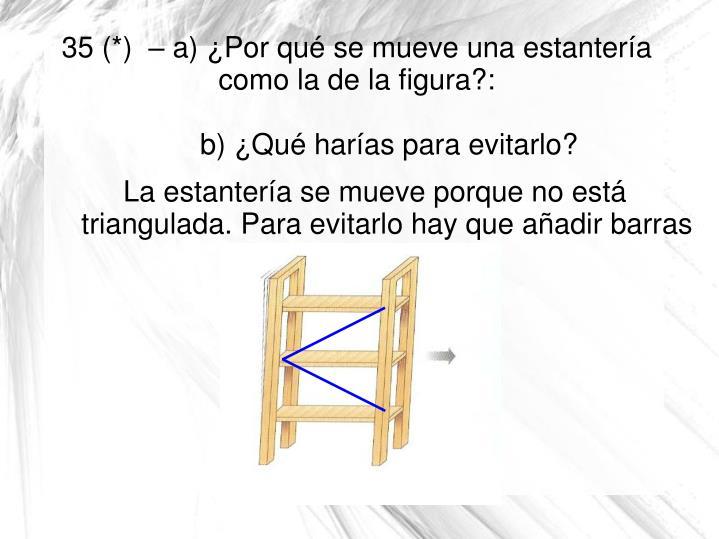 La estantería se mueve porque no está triangulada. Para evitarlo hay que añadir barras que la triangulen.